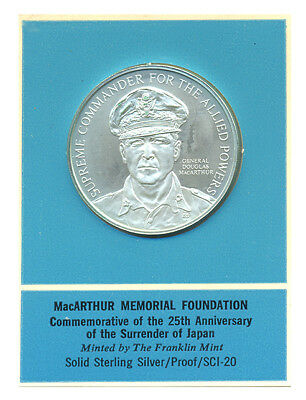MacArthur Memorial Foundation 25th Surrender Japan Medal Franklin Mint Sterling