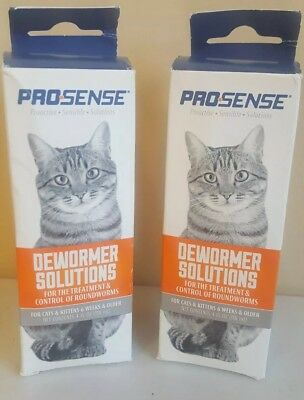 2 CAT DEWORMER Solution PROSENSE Cats & Kittens 6 wks+ Exp:12/2020 Free Ship.