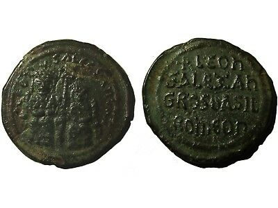 Byzantine Bronze Follis Of Emperor Leo Vi (886-912)The Wise With Alexander, Rare