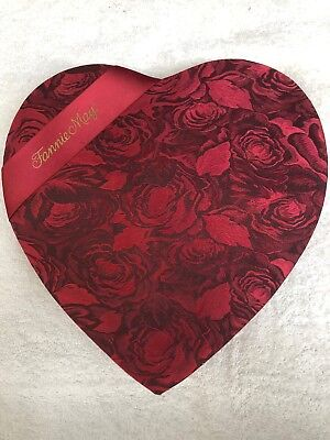 Fannie May Valentine Fabric Heart Box Empty 11 In.