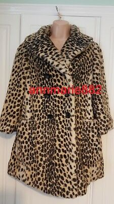 Topshop Womens Vintage Petite Leopard Animal Faux Fur Fully Lined Coat Size 12