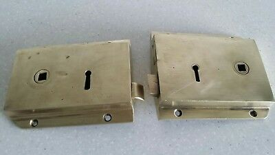 2 Vintage Solid Brass Door Rim Locks  Reclaimed