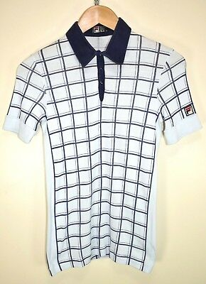 FILA WHITE LINE BJ 80s CASUALS VINTAGE RETRO SHORT SLEEVED TENNIS POLO SHIRT XS