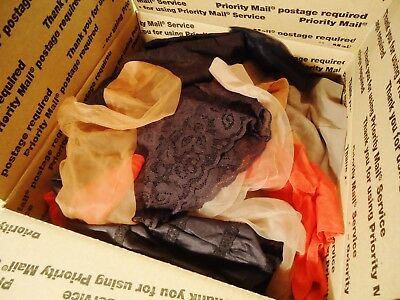 vtg nylon stockings-lingerie-high heels-bra-garters box crammed full girly item