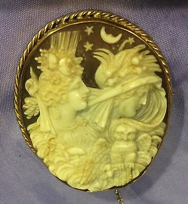 Fine ANTIQUE CARVED CAMEO BROOCH - Goddesses Of Eos And Nyx.  Morphea.