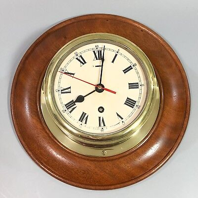 English 8 day ship marine bulkhead brass wall clock wooden cased enamel dial
