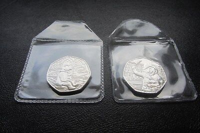 2018 PADDINGTON BEAR 50p COINS UNC x 2 (STATION & PALACE)  from Sealed Bags   N2