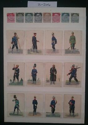 German Ww1 ,picture Cards /,stamps 1914/18,imperial Army Uniforms  ,kaiser