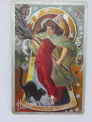 Postcard Halloween Witch Black Cat Moon Devil Posted 1909 Masion City Ia
