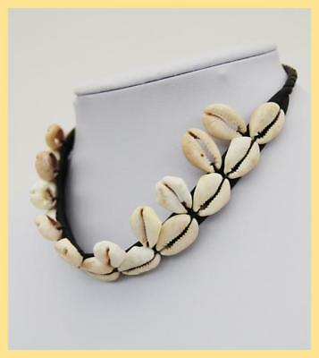 COWRY SHELL CHOKER - African Shell Necklace with Leather, From Cameroon. Africa