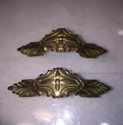 2 Vintage Art Deco Metal Brass Colored Drawer Pull Handle Ornate