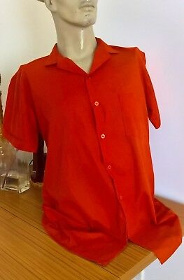 Vintage 1980's red s/s mens smart casual shirt size L
