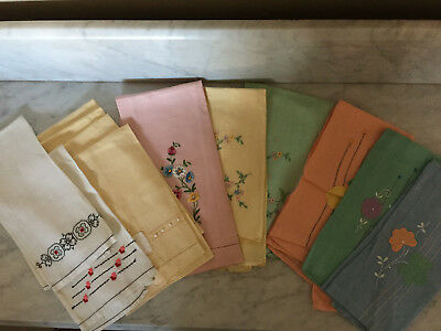 Vintage Linen Guest Towels, Hand Embroidered and Appliqued, 40s/50s Lot of 12