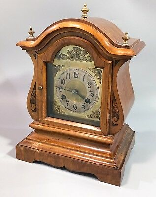 Large antique brass German 8 day walnut mantel clock (CB) Badische Uhrenfabrik