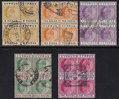 1904-08 CIPRO/CYPRUS, SG 60/64 5 values in block of four USED