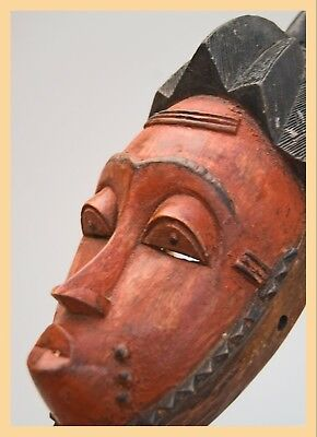 CUTE BAULE MASK - Decoratively, Hand Carved. Baule Mask, From West Africa