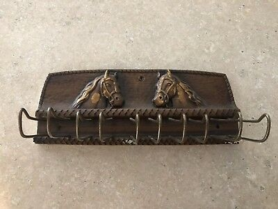 Vintage Western Decor Wooden Tie Rack - Wall Mount With Two Horse Heads Design