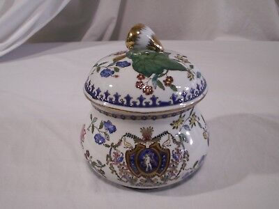 Antique Porcelain Chinese Jar w/Acorn Lid Enamel Hand Painted Gold Trim Marked