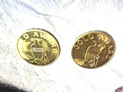 2 Mills Slotmachine Brass Gold Award Tokens #C3275