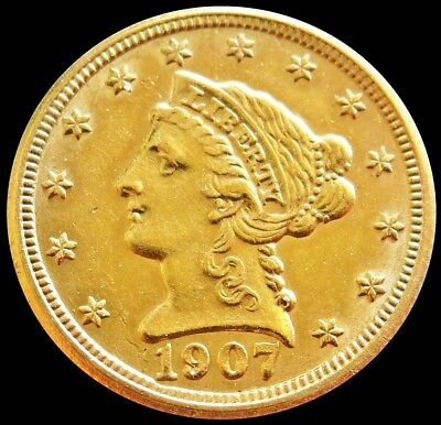 1907 Gold United States $2.5 Dollar Liberty Head Quarter Eagle Coin *cleaned