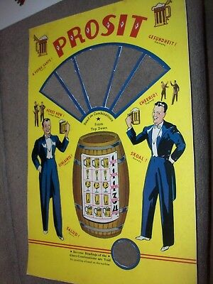 """1930's ABT """"Prosit"""" Beer Trade Stimulator Arcade Replacement Face Plate"""