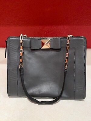 Kate Spade NY Bow Terrace Monroe Shoulder Bag Leather Charcoal/Gold Chain Handle