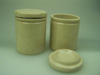Two c1900 stoneware pottery ointment jars pots with lids