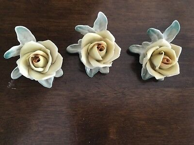 Antique Porcelain  3 German Handcrafted Marked  Floral Place Card Holders