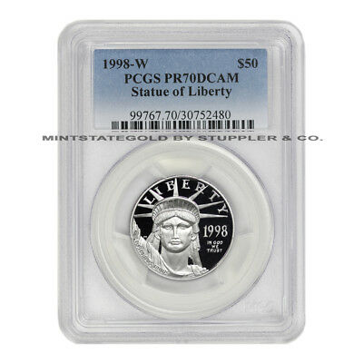 1998-W $50 Platinum Eagle PCGS PR70DCAM Deep Cameo Proof American 1/2 oz Bullion