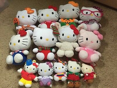 Ty Beanie Hello Kitty Assorted Variety Plush Dolls & Keychains Lot Preowned Euc!