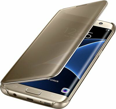 Official Genuine Samsung Galaxy S7 Edge Clear View Case Gold EF-ZG935CFEGWW