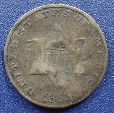 1853 Three Cent Silver Type 1 - Good Details (Slightly Bent)