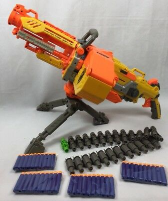 NERF HAVOK FIRE VULCAN EBF MACHINE GUN dart Ammo Box TriPod Anmo Belt Complete