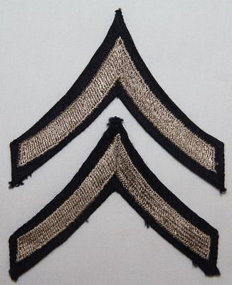 Original Wwii Pfc, Private First Class Chevrons, Stripes, Embroidered On Twill