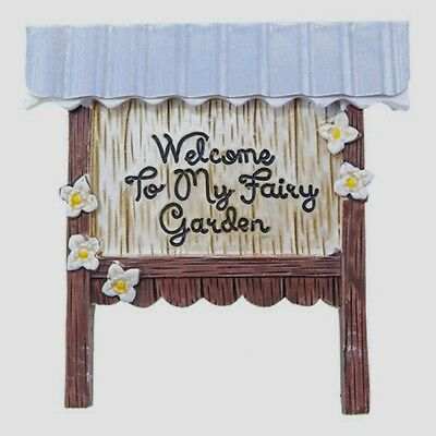 Miniature WELCOME TO MY FAIRY GARDEN SIGN with FLOWERS & TIN or METAL ROOF 3.75""