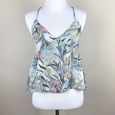d5bfef04f77f4 BP. by Nordstrom Women s XS Cami Tank Top Spaghetti Strap Blue Floral Print