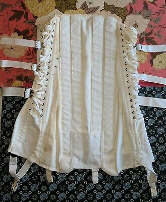Vintage Camp Fan Corset Girdle Steampunk Waist Trainer w/Garters