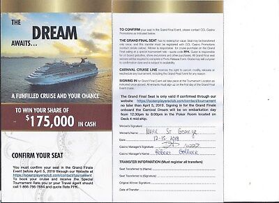 Poker Tournament Entry Carnival Cruise Lines Dream from New Orleans May 5, 2019