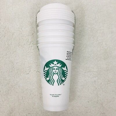Starbucks Reusable 5 Pack White Cup Collection Tumbler 16 oz NEW