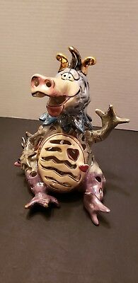 2000 Blue Sky Corp Heather Goldmine Clayworks Magic Dragon Candle Holder 10""