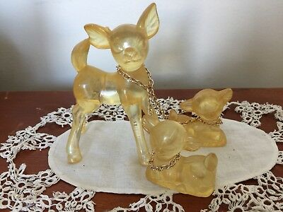 Vintage YELLOW PLASTIC DOE Deer Chained To 2 FAWNS Hong Kong
