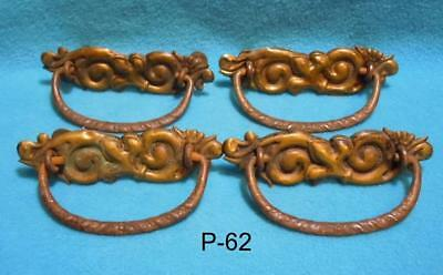 P-62Antique/vintage Furniture Drawer Pulls, Original pressed brass, Four old