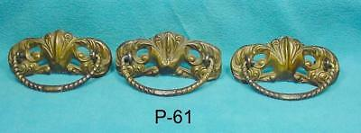 P-61 Antique/vintage Furniture Drawer Pulls, Original pressed brass, Three old