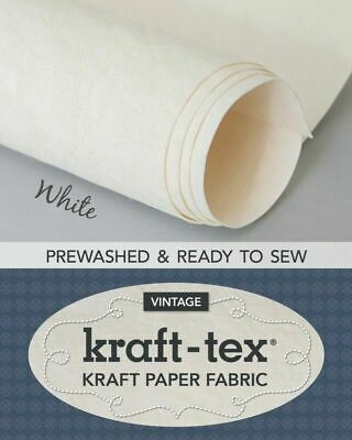 Kraft-tex Roll White Prewashed Paper Fabric- 19in wide