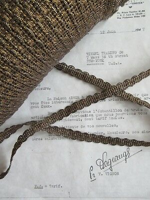 "1 yd Vintage Antique French Dark Gold Metallic Lace Trim 7/16"" Lampshade Pillow"