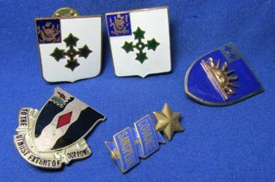 WWII 47th, 53rd, 60th, 63rd Infantry Regiment DI Unit Crest Pins Lot Of 5