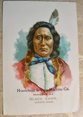 Victorian Trade Card With Native American Indian Sewing Machine Advertising