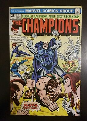 The Champions #2 (1976) VF/NM BLACK WIDOW GHOST RIDER ICEMAN ANGEL HERCULES APP