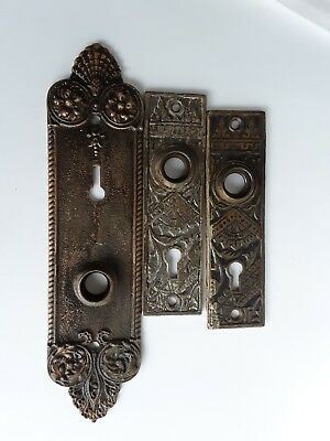 Antique Matching  Ornate Door Plates Vintage Hardware