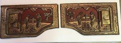 Pair Of Antique Vintage Asian Panels, Hand Carved Gilded